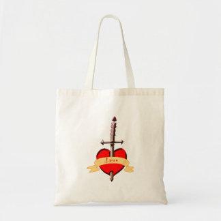love dagger pierced heart tote bag