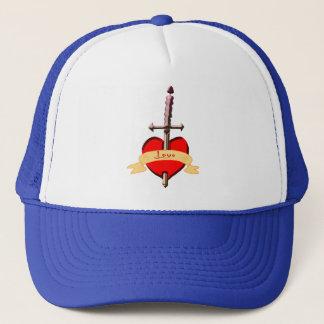 love dagger pierced heart trucker hat