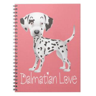 Love Dalmatian Cartoon Puppy Dog Pink - Fire Dog Notebook