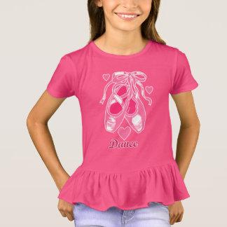 Love Dance Pink Ballet Shoes Girls' Ruffle T-Shirt