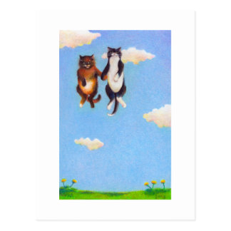 Love dating cat art fun Smitten cute cats floating Postcard