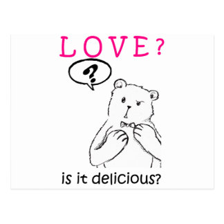 love delicious seriously funny bear anti valentine postcard
