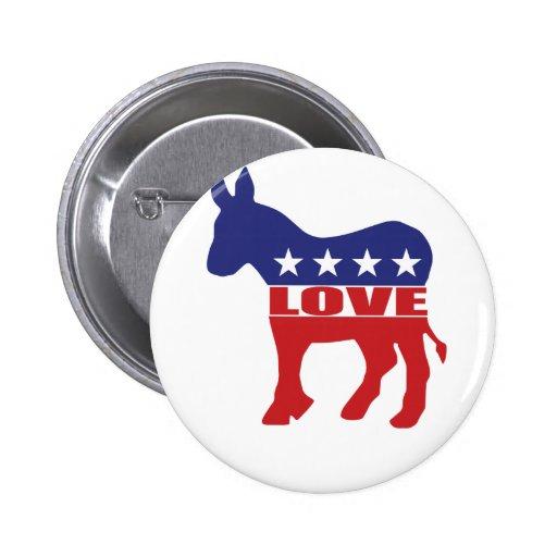 Love Democrats Pinback Buttons