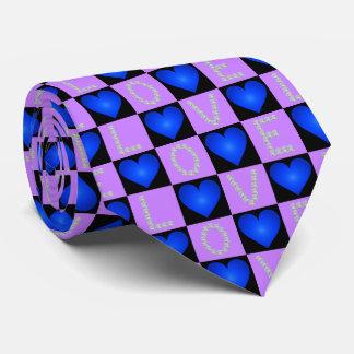 LOVE Diamonds Checkered Glowing Hearts, Valentines Tie