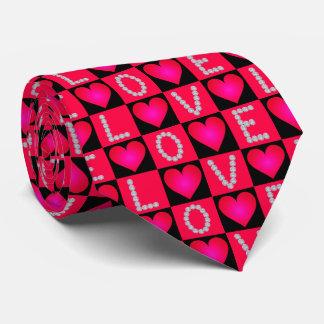 LOVE Diamonds Checkered Glowing Hearts -Valentines Tie