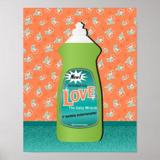 Love Dishwashing Liquid Bottle Poster