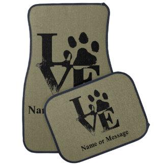 Love Dog Paw Custom Name or Message Floor Mat