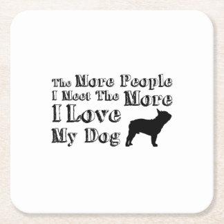 Love Dog Paw Pet Funny  I Love My Dog Square Paper Coaster