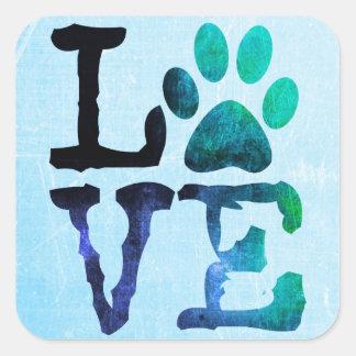 Love, Dog Paw Print Sticker