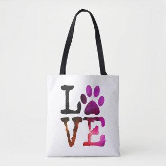 Love Dog Paw Print Tote Bag