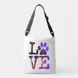 LOVE Dog Paw prints Heart Carry Bag
