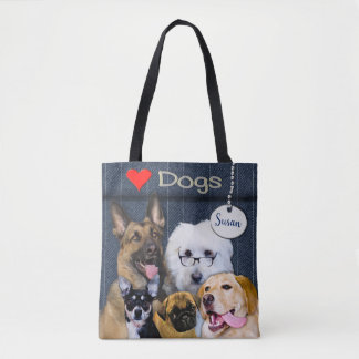 LOVE DOGS TOTE - 5 Breeds - Add Name FRONT & BACK