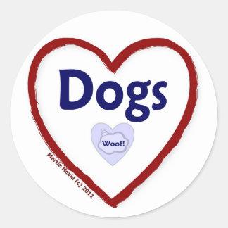 Love Dogs (Woof) Round Sticker