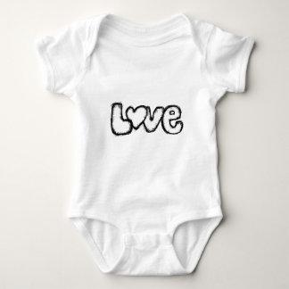 love doodle black white simple modern baby bodysuit