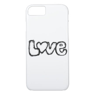 love doodle black white simple modern iPhone 8/7 case