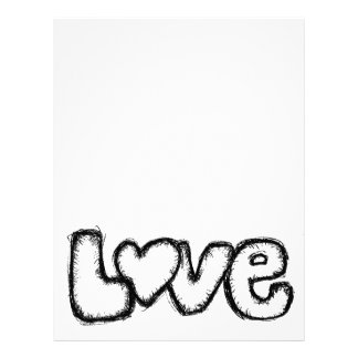 love doodle black white simple modern letterhead