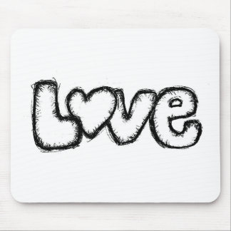 love doodle black white simple modern mouse pad