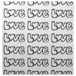 love doodle black white simple modern napkin