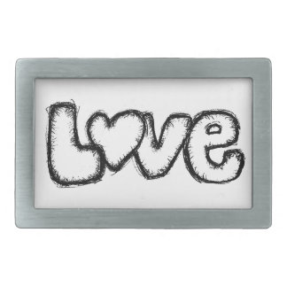 love doodle black white simple modern rectangular belt buckle