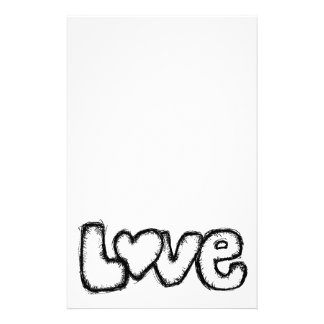 love doodle black white simple modern stationery
