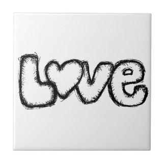 love doodle black white simple modern tile