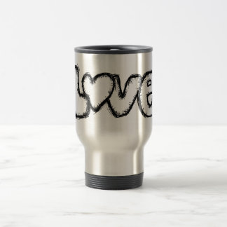 love doodle black white simple modern travel mug