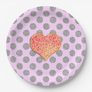 "LOVE DOTS -Custom Your Color- Paper Plates 9"" 9 Inch Paper Plate"
