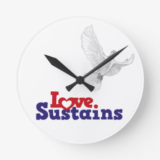 LOve Dove Time - Deep Red Round Clock