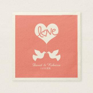 Love Doves - Coral Pink Paper Napkin