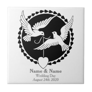 Love Doves Elegant Tile Gay Wedding Gift