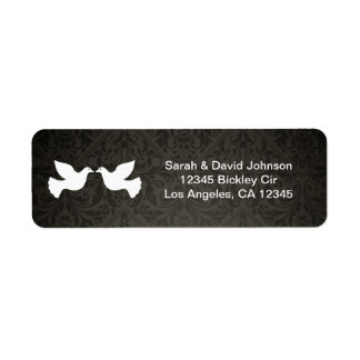 Love Doves with black and gray damask