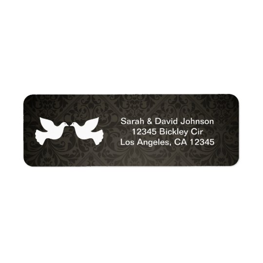Love Doves with black and grey damask