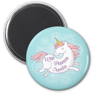 Love Dream Create Round Magnet