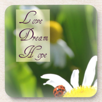 Love, Dream, Hope Ladybug Coaster Set