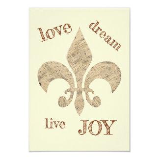 Love Dream Live JOY Fleur de lis sketch Card