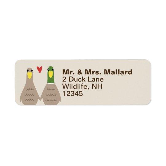 Love Ducks Return Address Return Address Label