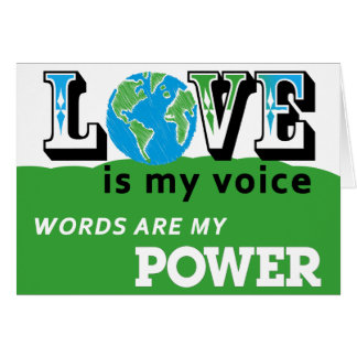LOVE EARTH BUTTON - LOVE IS MY VOICE CARD