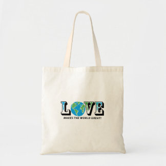 LOVE EARTH MAKES OUR WORLD GREAT TOTE BAG