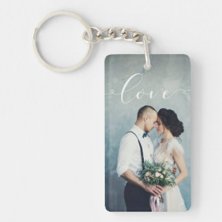 Love | Elegant Calligraphy with your Photo Keychain