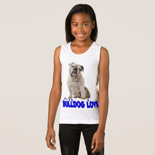 Love English Bulldog Puppy Dog Ladies Girls Tank Top