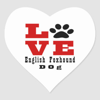 Love English FoxhoundDog Designes Heart Sticker