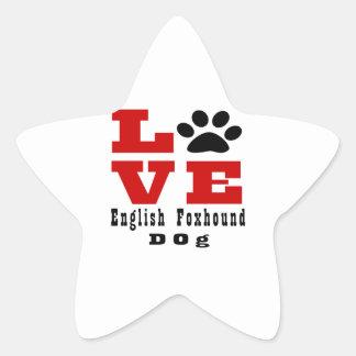 Love English FoxhoundDog Designes Star Sticker