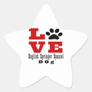 Love English Springer Spaniel Dog Designes Star Sticker