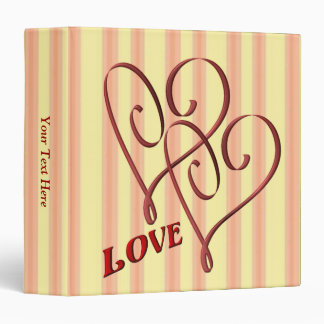 Love Entwined Hearts Wedding Anniversary 3 Ring Binders