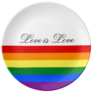 Love Equality Rainbow Flag LGBT Lesbian Gay Pride Plate