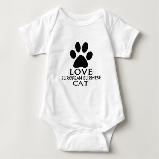 LOVE EUROPEAN BURMESE CAT DESIGNS BABY BODYSUIT