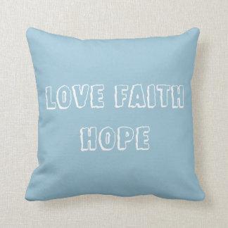 Love Faith Hope - Inspirational Virtues - Blue Pillow