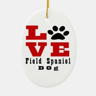 Love Field Spaniel Dog Designes Ceramic Oval Ornament
