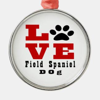 Love Field Spaniel Dog Designes Silver-Colored Round Ornament