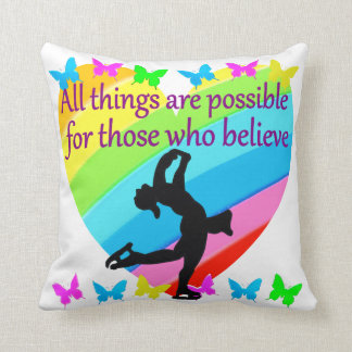 LOVE FILLED INSPIRATIONAL FIGURE SKATING DESIGN THROW PILLOW
